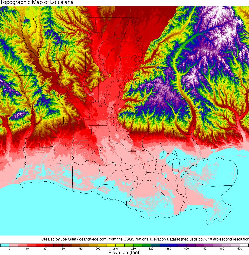 Topographic Map Louisiana MAP